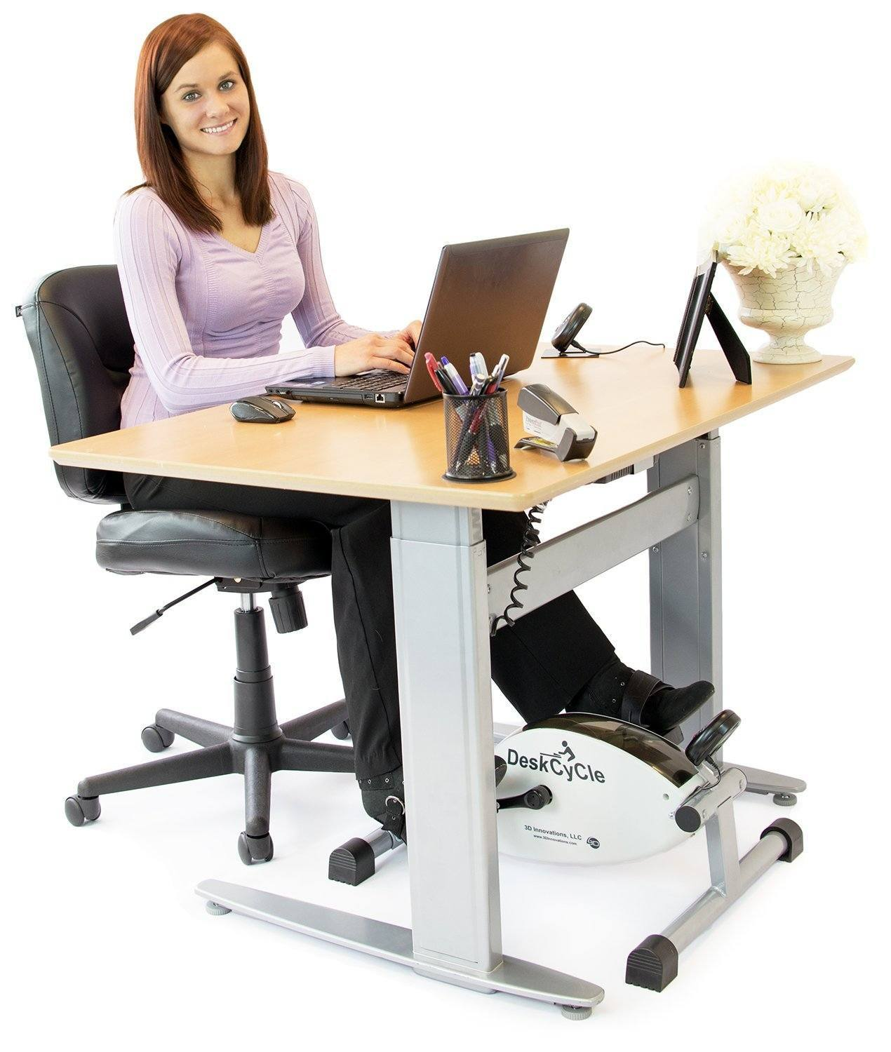 deskcycle desk exercise bike stay active at work fitness gizmos. Black Bedroom Furniture Sets. Home Design Ideas